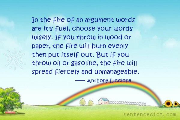 Good Sentence appreciation - In the fire of an argument words are
