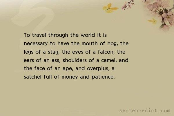 Good sentence's beautiful picture_To travel through the world it is necessary to have the mouth of hog, the legs of a stag, the eyes of a falcon, the ears of an ass, shoulders of a camel, and the face of an ape, and overplus, a satchel full of money and patience.