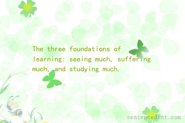 Good sentence's beautiful picture_The three foundations of learning: seeing much, suffering much, and studying much.