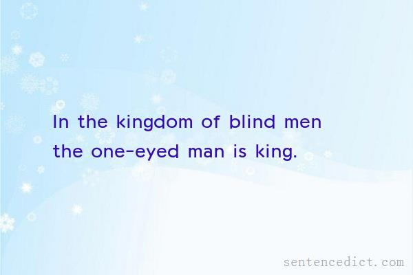 Good Sentence appreciation - In the kingdom of blind men the