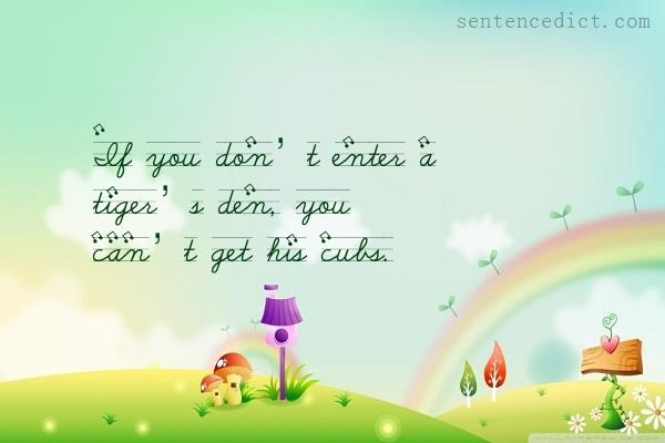 Good sentence's beautiful picture_If you don't enter a tiger's den, you can't get his cubs.