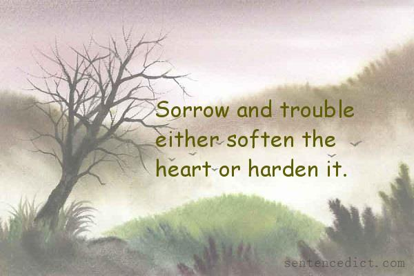 Good sentence's beautiful picture_Sorrow and trouble either soften the heart or harden it.