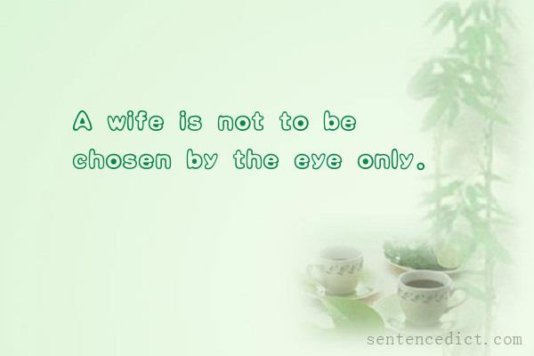 Good sentence's beautiful picture_A wife is not to be chosen by the eye only.