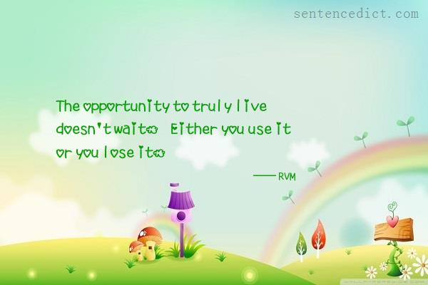 Good sentence's beautiful picture_The opportunity to truly live doesn't wait. Either you use it or you lose it.
