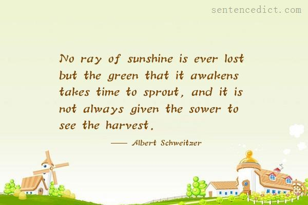 Good sentence's beautiful picture_No ray of sunshine is ever lost but the green that it awakens takes time to sprout, and it is not always given the sower to see the harvest.