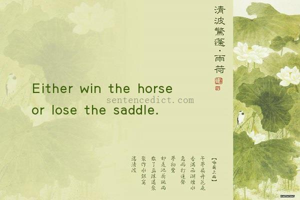 Good sentence's beautiful picture_Either win the horse or lose the saddle.