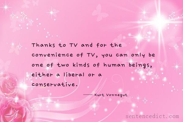 Good sentence's beautiful picture_Thanks to TV and for the convenience of TV, you can only be one of two kinds of human beings, either a liberal or a conservative.